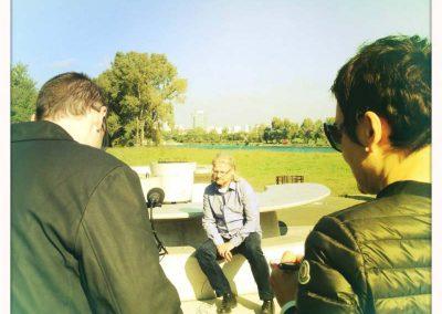 Mit dem Fernsehteam auf der Donauinsel