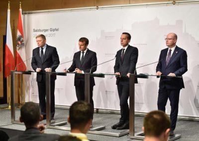 Premierminister Fico, Präsident Macron, Bundeskanzler Kern, Premierminister Sobotka in Salzburg